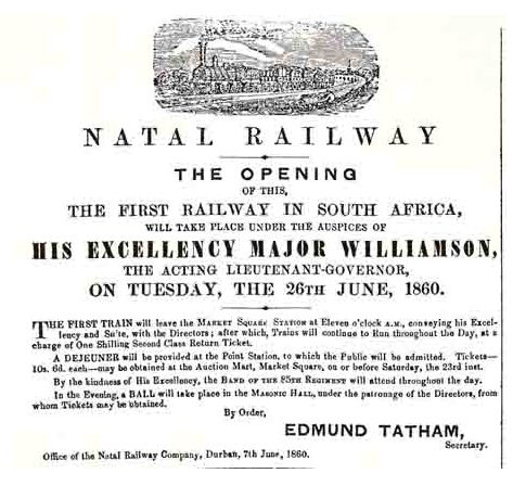 Advert noting the opening of the Natal Railway, 1860